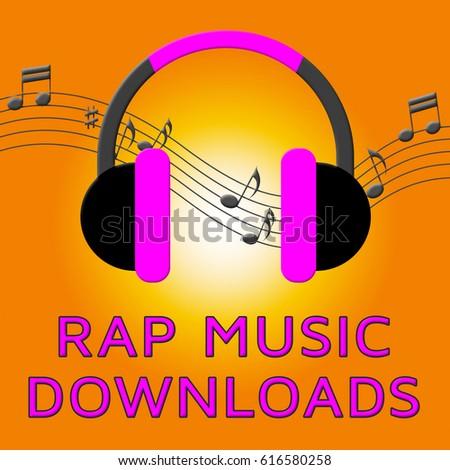 Rap Music Earphones Means Downloading Songs 3d Illustration Stock photo ©