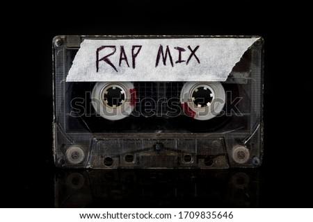 Rap Music Mix Rap music mixtape on a black background. Stock foto ©