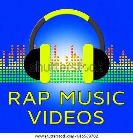 Rap Music Videos Earphones Means Spoken Songs 3d Illustration Stock photo ©