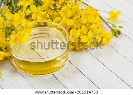 rapeseed oil with rape flowers