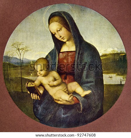 "Raphael ""Madonna Connestabile"" (1502-1504). Reproduction from illustrated Encyclopedia «Art galleries of Europe», Partnership «M. O. Wolf», St. Petersburg - Moscow, Russia , 1901"