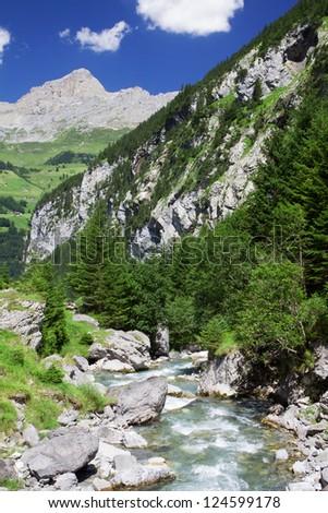 Rapid brook near Klausen Pass in Swiss Alps