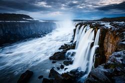 Rapid flow of water powerful Selfoss cascade. Unusual and gorgeous scene. Popular tourist attraction. Location famous place Vatnajokull National Park, Jokulsa a Fjollum, Iceland, Europe. Beauty world.