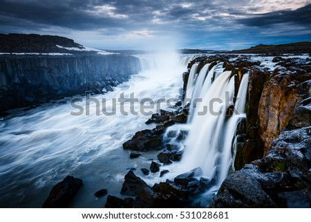 Rapid flow of water powerful Selfoss cascade. Unusual and gorgeous scene. Popular tourist attraction. Location famous place Vatnajokull National Park, Jokulsa a Fjollum, Iceland, Europe. Beauty world.
