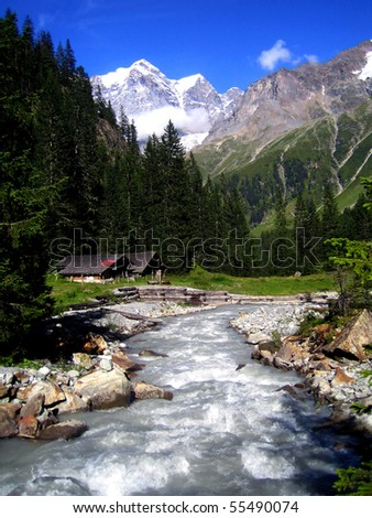 Rapid stream and Swiss Alps