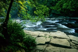 Rapids on the Youghiogheny River, just above Swallow Falls in Swallow Falls State Park in western Maryland, U.S.A.