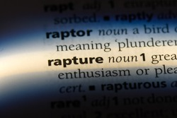 rapture word in a dictionary. rapture concept.