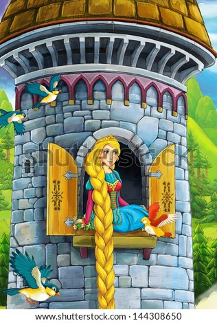 Rapunzel Prince or princess castles knights and fairies illustration for the children