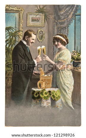 rare antique german post card from 1915 showing young couple celebrated with champagne