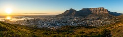 Rare cloudless view on capetown and the table mountain while sunrise.