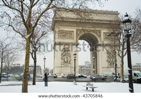 Rare snowy day in Paris. Arc de Triomphe and lots of snow
