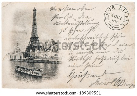 rare vintage postcard with Eiffel Tower in Paris, France, circa 1900