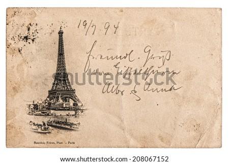 rare vintage postcard with Eiffel Tower in Paris, France, circa 1894