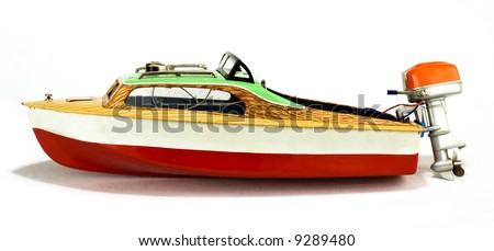 rare vintage speedboat toy isolated on white