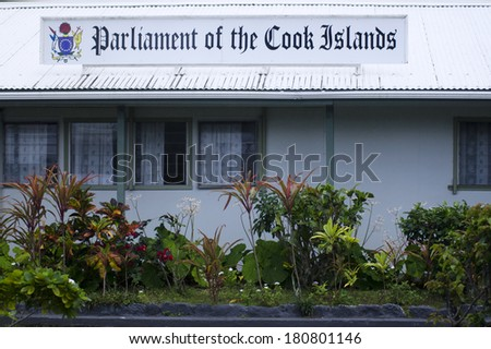 RAROTONGA,COK - SEP 16 2013:Cook Island Parliament. Cook Islands may become one of the world\'s richest countries within a decade by collecting minerals from the sea that worth billions of dollars.