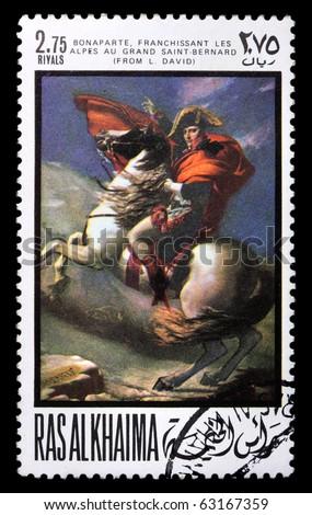 RAS AL KHAIMA - CIRCA 1969: a stamp printed in Ras-Al-Khaima (UAE) shows Napoleon (painting by L. David), circa 1969. Isolated on black