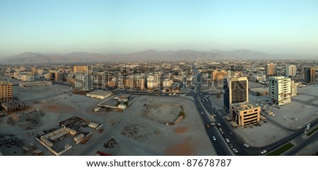 RAS AL KHAIMAH, UAE - SEPTEMBER 16: Aerial view of Ras al Khaimah on September 16, 2011 in Ras al Khaimah, UAE. RAK is the fifth largest city in the UAE with 387,985 inhabitants as of 2010