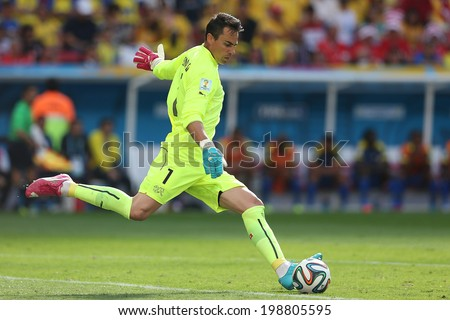 RASILIA BRAZIL June 15 2014 Diego Benaglio of Switzerland kicks the ball during the 2014 World Cup Group Group E game between Switzerland and Ecuador at Mane Garrincha Stadium No Use in Brazil