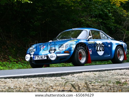 RASNOV, ROMANIA - OCT. 1:  Popescu Horia drives a ALPINE RENAULT A110 car during Rally of Romania 2010 championship on October 1, 2010 in Rasnov, Romania.