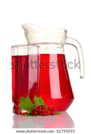 raspberries and juice isolated on white