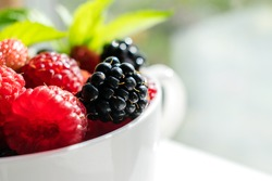 Raspberries, blackberries and mint leaves in a white cup close-up.Healthy food concept, summer concept.Copy space, selective focus with shallow depth of field.