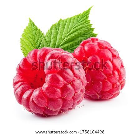 Raspberries isolate. Two raspberries with green leaves isolate. Raspberry with leaf isolated on white. Сток-фото ©