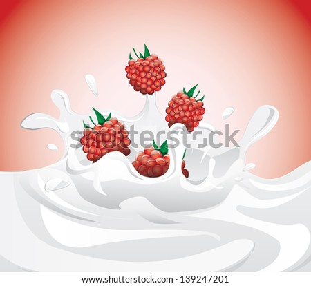 Raspberries splashing in milk on red background