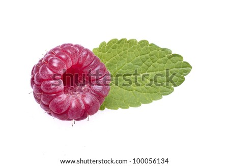 Raspberries with great colors in white background
