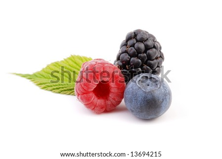 raspberry, blackberry and blueberry