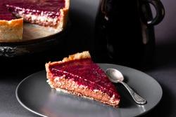 Raspberry coconut chocolate tart. Homemade pastries