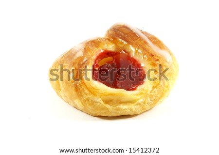 Raspberry Danish Pastry Isolated on a White Background
