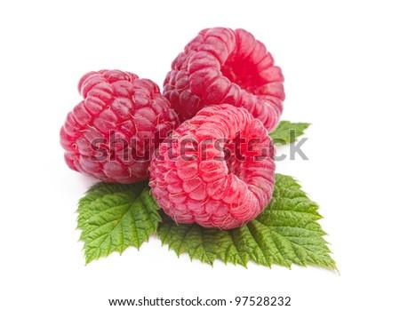 Raspberry fruit closeup isolated on white background