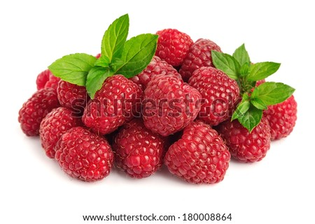 raspberry fruits with leafs on white background #180008864