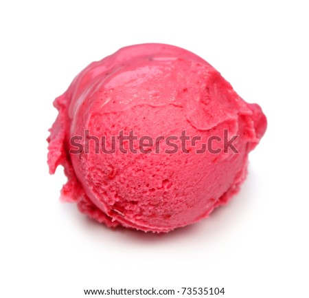 Raspberry ice cream scoop isolated on white