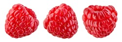 Raspberry isolated. Fresh raspberry on white background. Raspberries set. Fly berries. Top view. With clipping path.