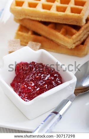 raspberry jam and tasty waffles - stock photo