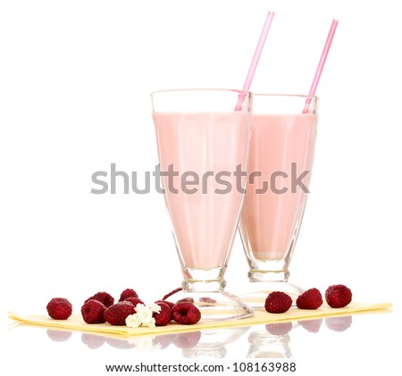 Raspberry milk shakes isolated on white