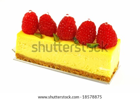 Raspberry Mousse Cake Isolated on a white background