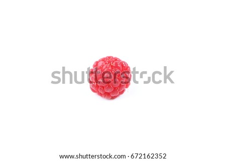 Raspberry on a glossy surface #672162352