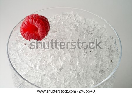 Raspberry on crushed ice