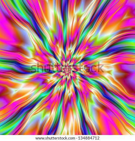 Raspberry Ripple / Digital abstract fractal image with a raspberry ripple design in pink and yellow with green and blue bits.