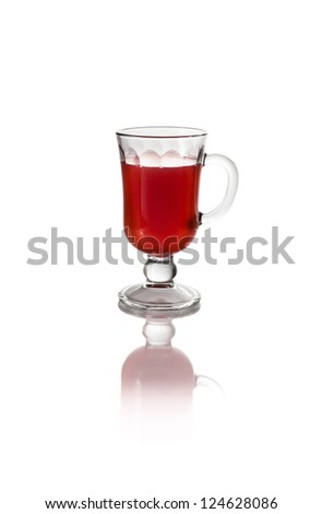 raspberry strawberry fruit glass juice on a white background