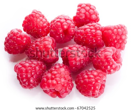 Raspberry sweet ripe bright red berries isolated on a white background