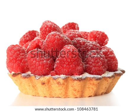 Raspberry tart, studio isolated on white.