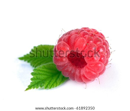 Raspberry with leaves on a white background