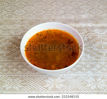 Rassolnik - soup with pickles and barley, traditional russian dish