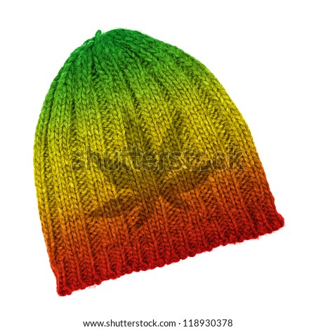 Rasta beanie with marijuana leaf isolated on white background