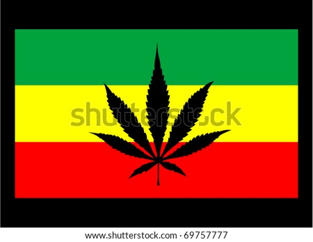 ... Rasta Flag with Marijuana Leaf silhouette. Raster on black background