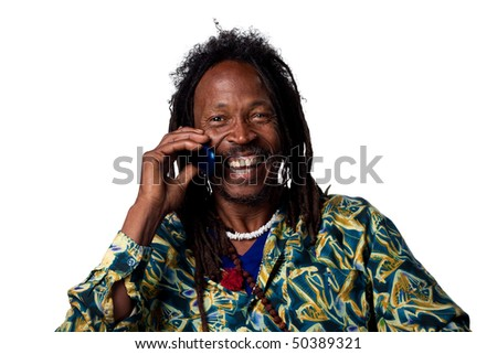 Rasta man talking on the phone, isolated image
