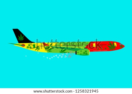 Rastafari aircraft or jet with cannabis leaves. Concept background of a marijuana legalization. Illustration reggae colors green, yellow, red. Hemp leaves as condensation trail from plane